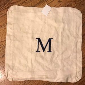 """Pottery Barn Linen Pillow Cover Monogram """"M"""" NWOT"""
